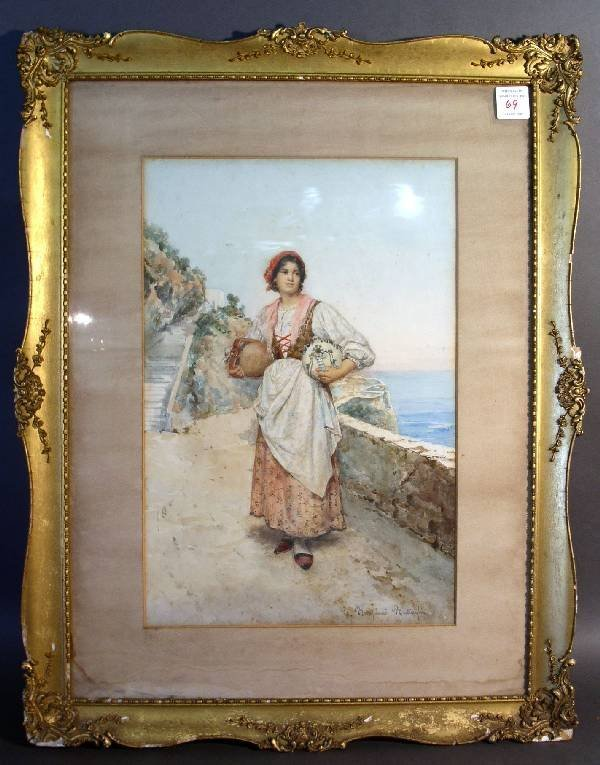 """69: Watercolor of an Italian water maiden signed """"C. Bo"""