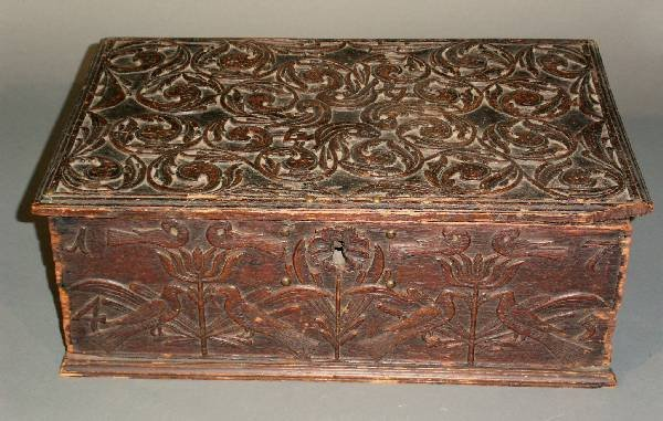 """252: Anglo-Dutch carved bible box dated 1745. 6.5""""h.x18"""