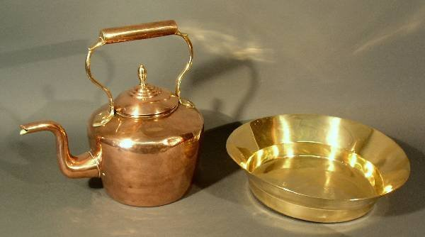 """253: English copper kettle (dents, 13""""h.x13.5""""l.) and a"""