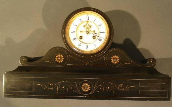 261: Black marble mantel clock by Robins, Clark & Biddl