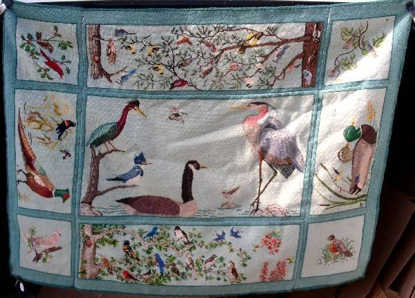 265: Needlepoint carpet with birds of the Wissahickon d