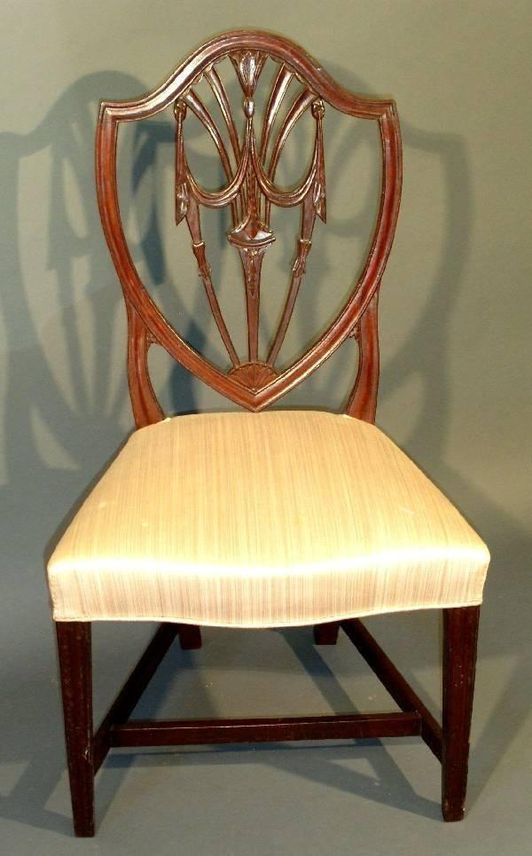 270: Hepplewhite shield-back mahogany side chair.