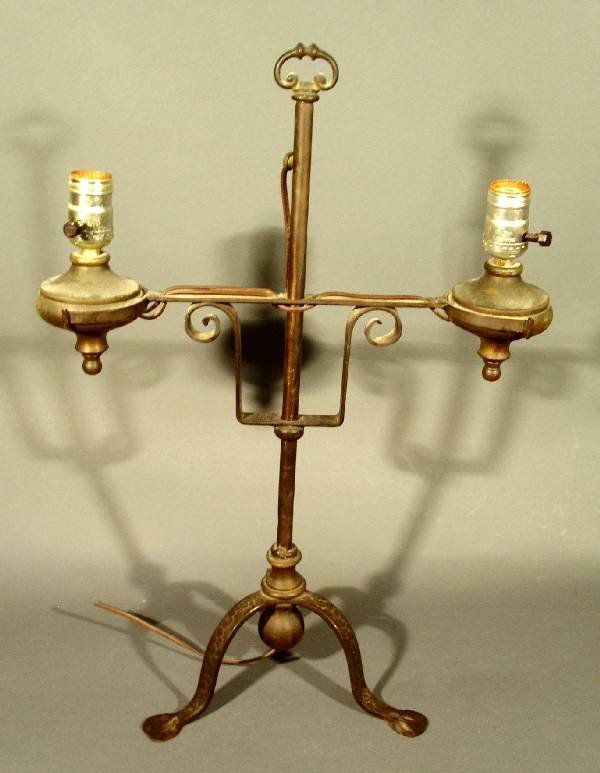 272: Wrought iron double-arm table lamp. Electrified, s