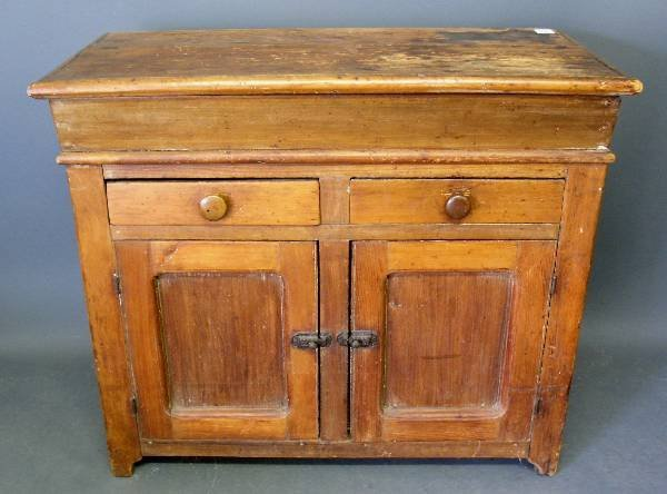 "276: Pine dry sink, c.1870, with paneled doors. 35""h.x4"