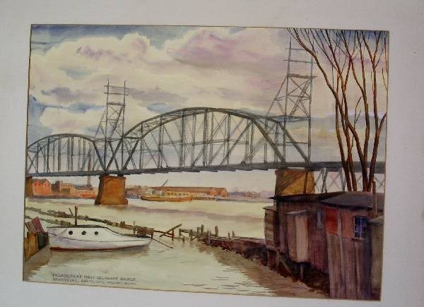 """282: Watercolor painting titled """"Philadelphia's First D"""
