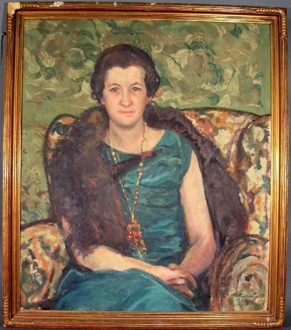 "286: Oil on canvas society portrait ""Katherine Morris W"