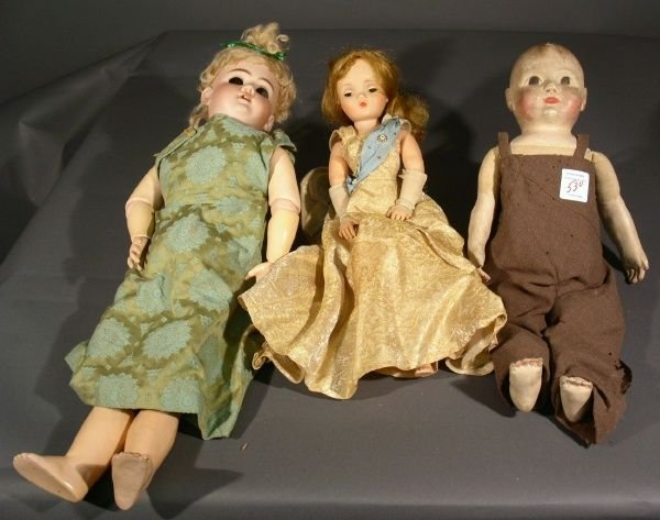 530: DEP bisque head doll and 2 other dolls. As found.