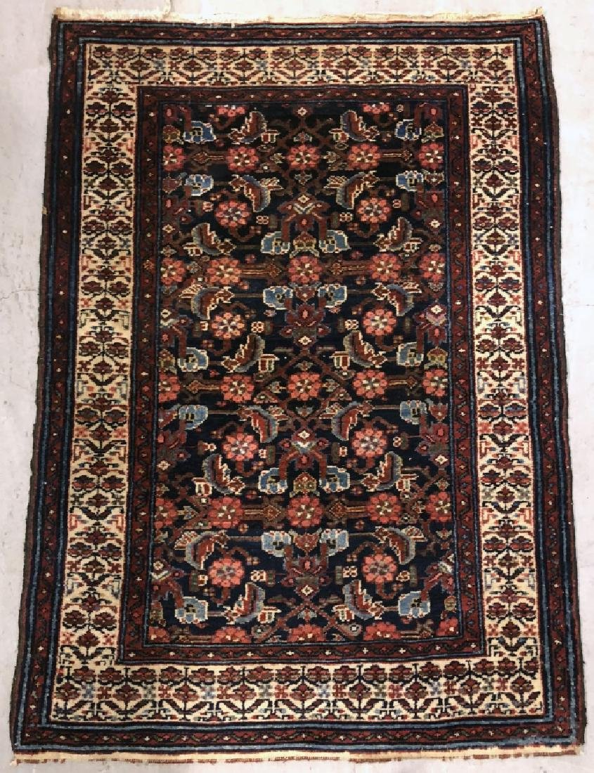Malayer Carpet with Dark Blue Field, Ivory Border