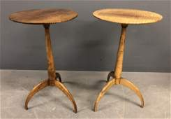 Pair of Custom Shaker Style Tiger Maple Tea Tables