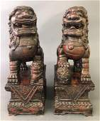 Pair of Wood Carved Seated Foo Dogs
