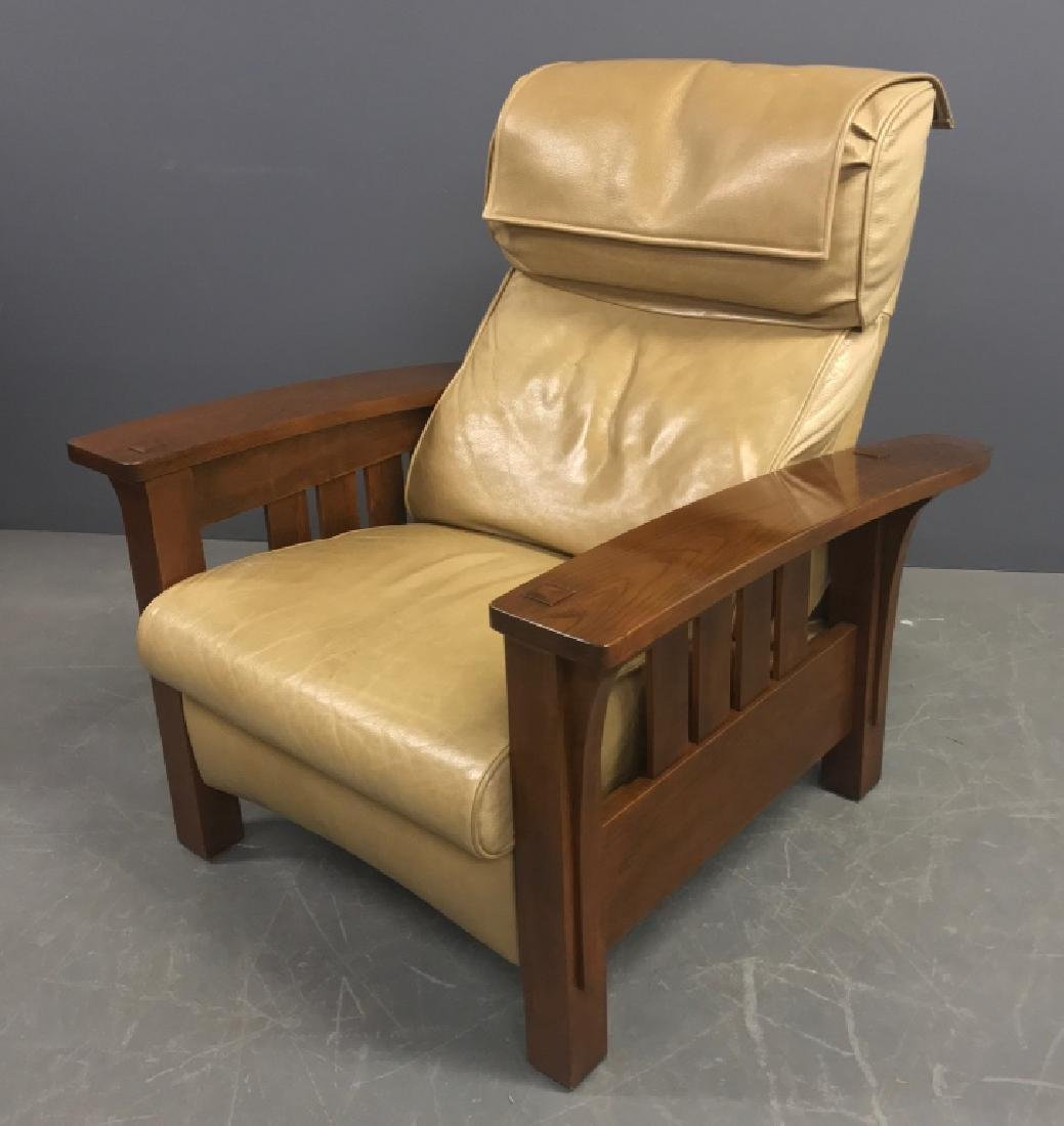 signed stickley cherry recliner chair