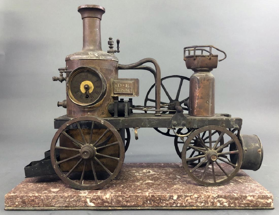 Rare French Industrial Bronze Fire Pumper Clock