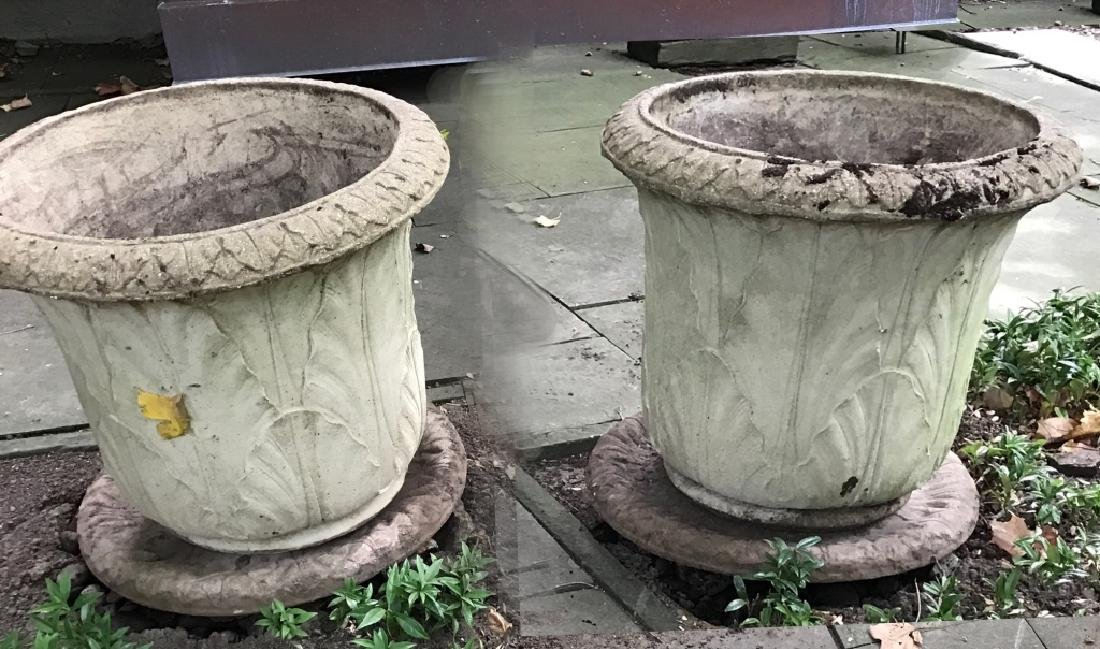 Pair Of Cast Stone Garden Planters