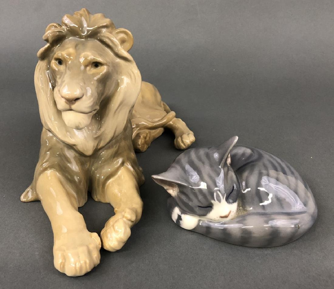Porcelain B&G Lion and Royal Copenhagen Cat