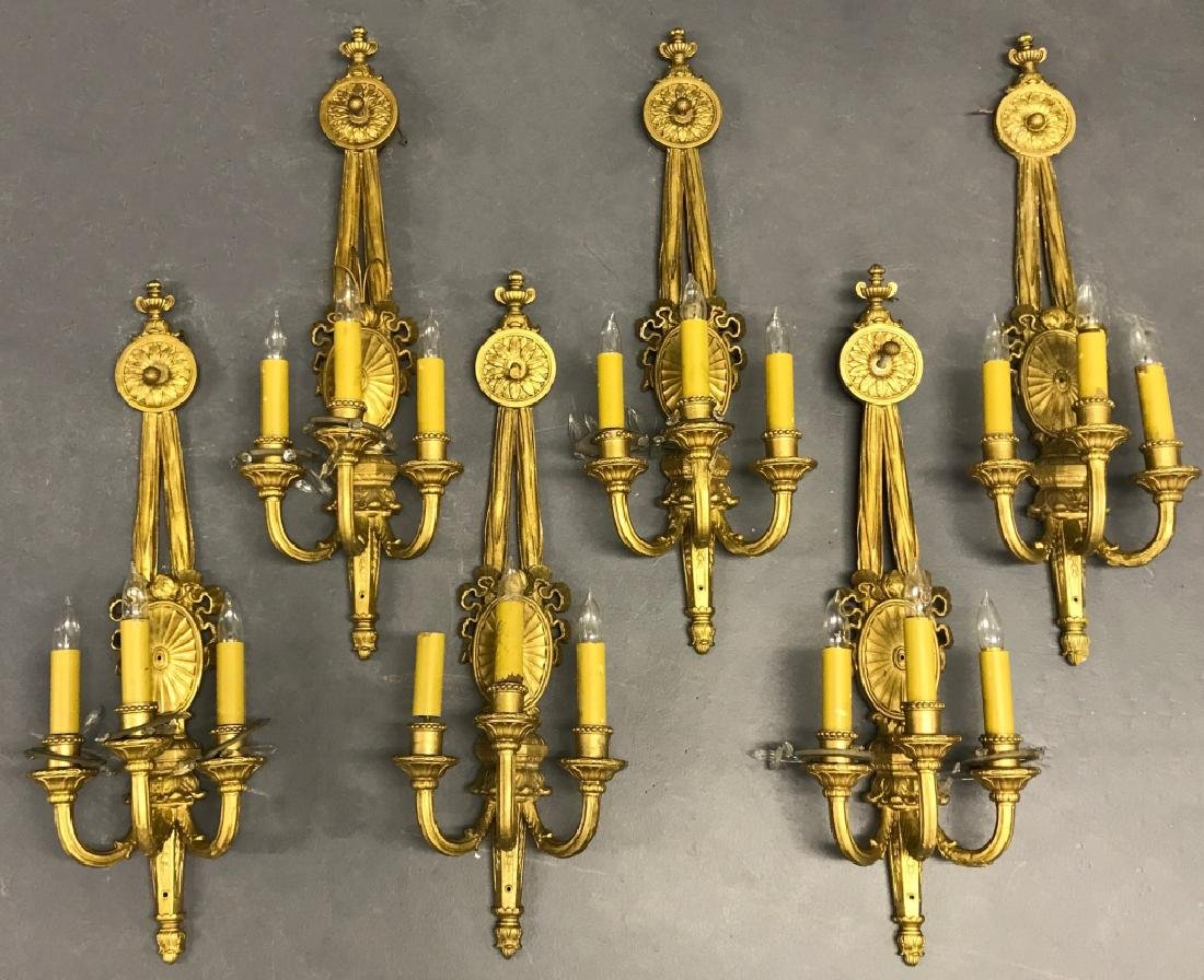 Six Gesso French Style Wall Sconces