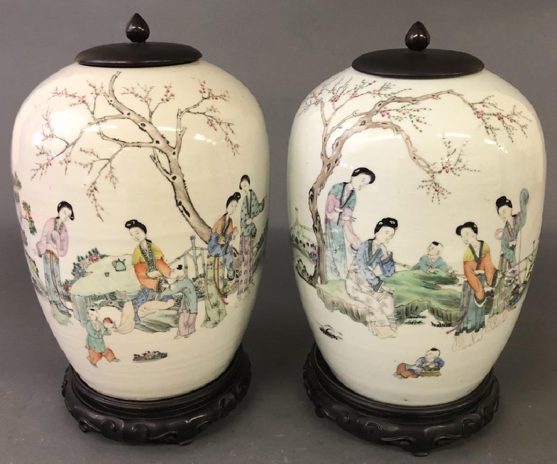 Pair of  Asian Porcelain Ginger Jars