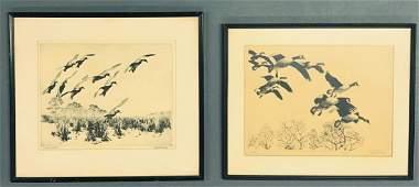 Two Original Signed Etchings by Richard Bishop