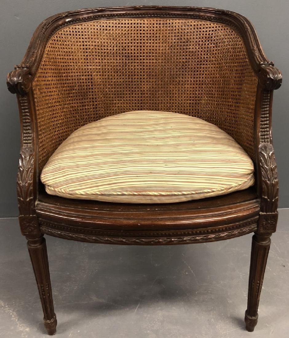 French Louis XVI Cane Back Armchair
