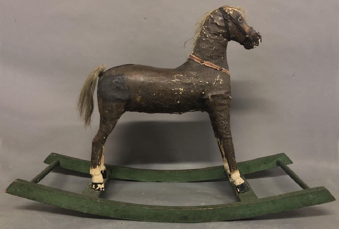 German Wood and Leather Rocking Horse