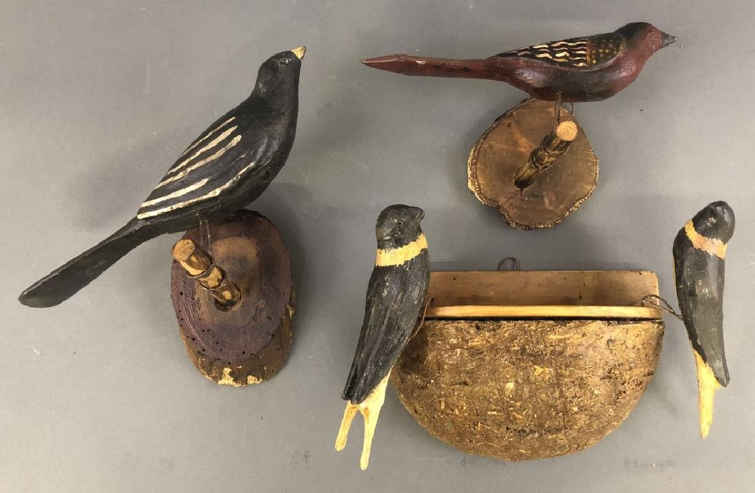 Three Continental Wood Carved Birds