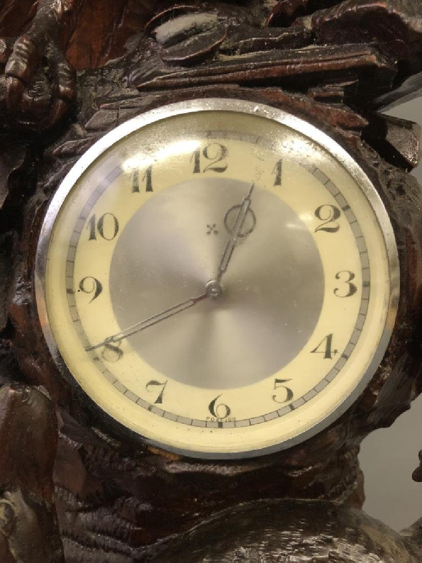 Black Forest Clock with Carved Owl and Wolf - 3