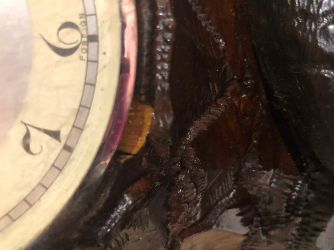 Black Forest Clock with Carved Owl and Wolf - 9