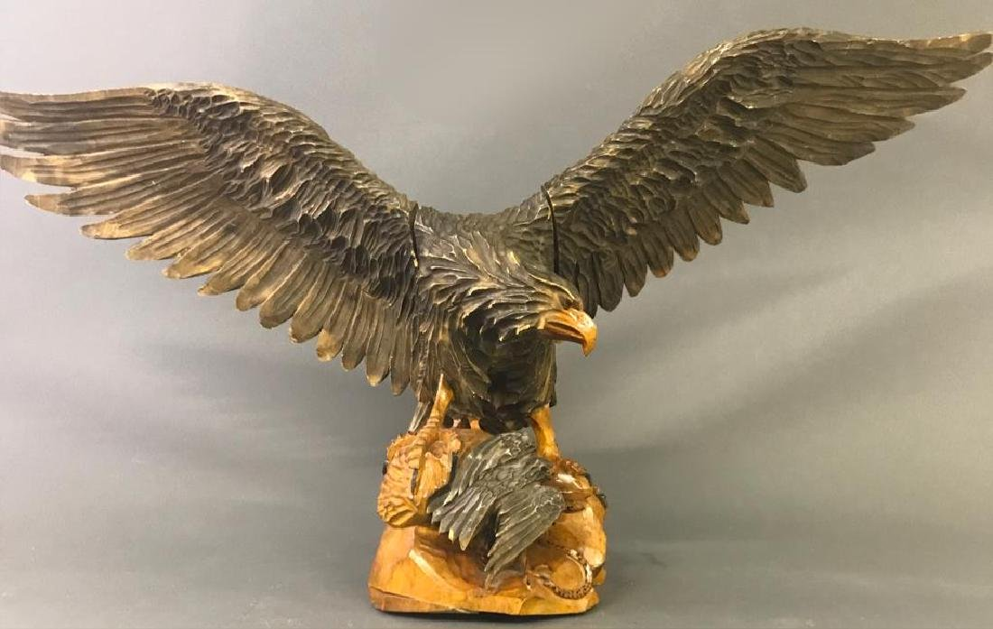 Carved Eagle with Eaglet and Snake