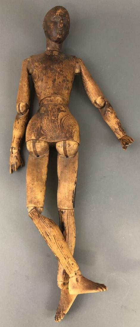 Early Pine Carved Artist Mannequin