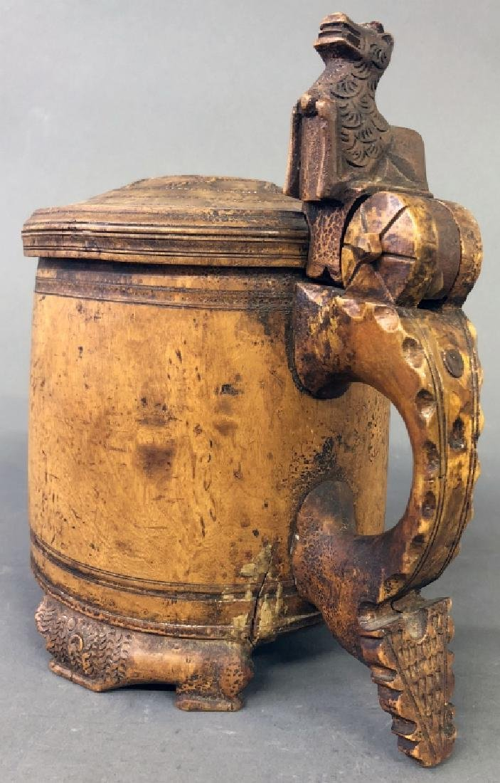 Rare Large Norwegian Burl Walnut Tankard