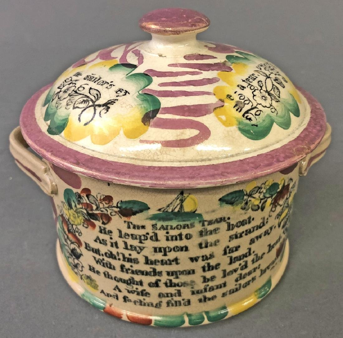 English Lustre Covered Jar with Sailor's Verse - 2