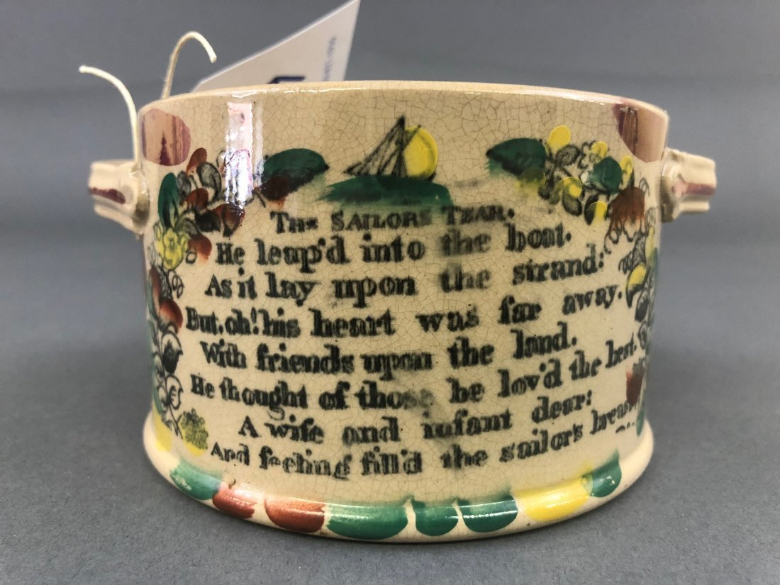English Lustre Covered Jar with Sailor's Verse - 9