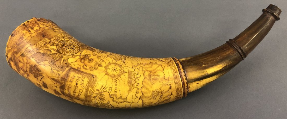 Rare French and Indian War Powder Horn