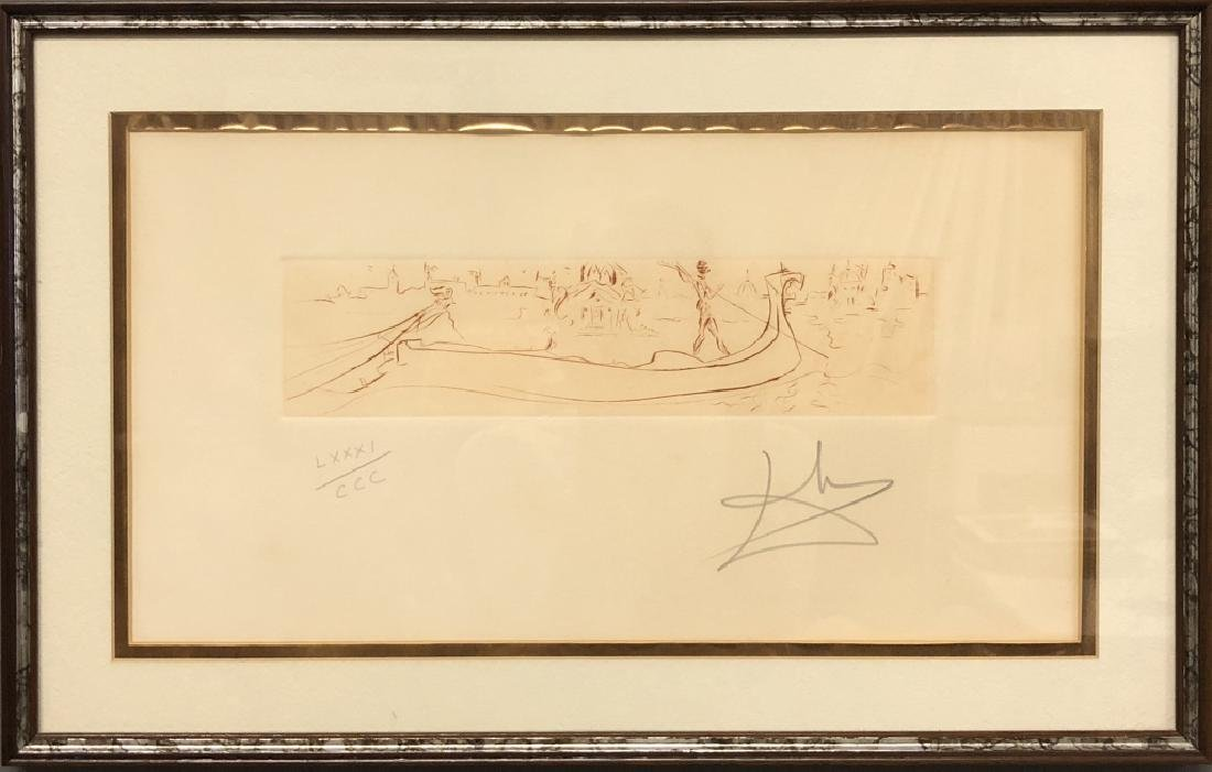 "Salvador Dali Signed Engraving ""Vision of Venice"""