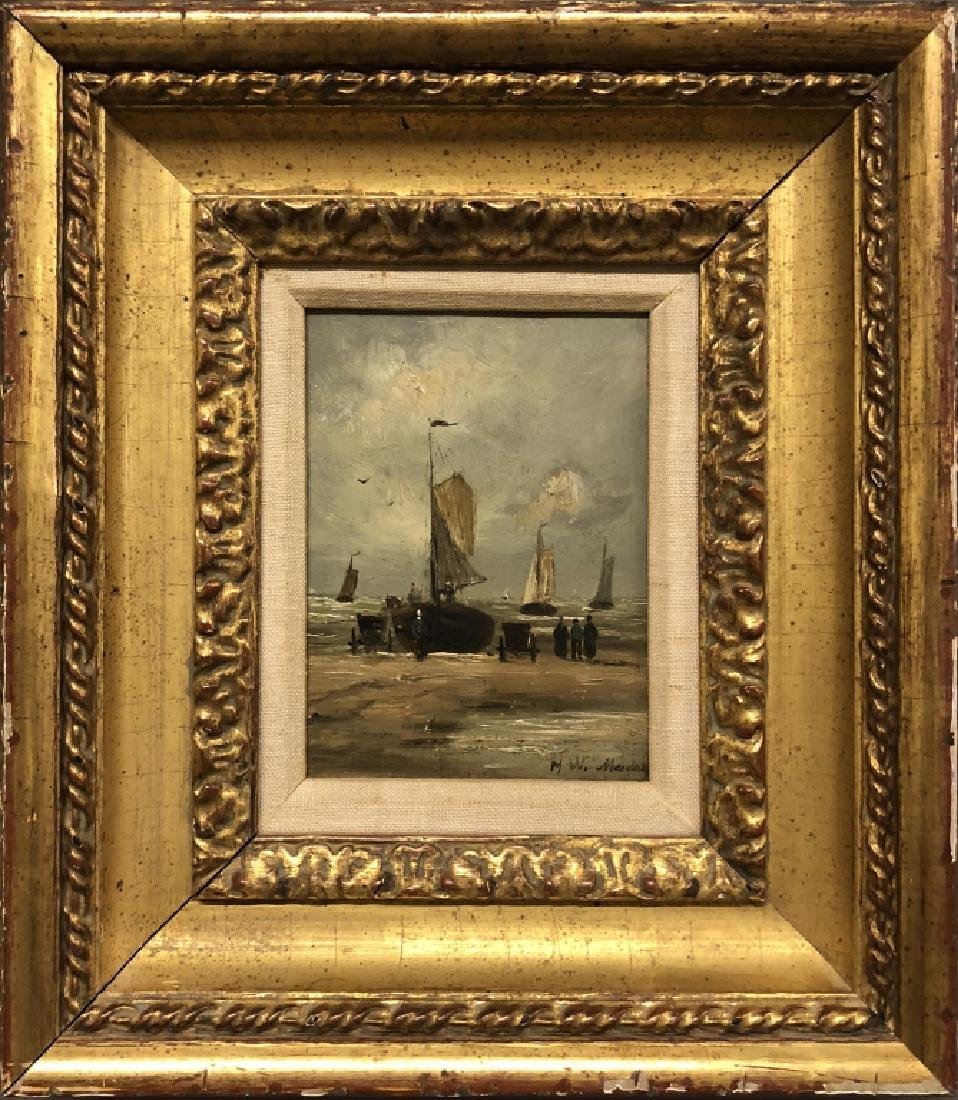 "Hendrik Mesdag ""Figures on Shore with Sailboats"""