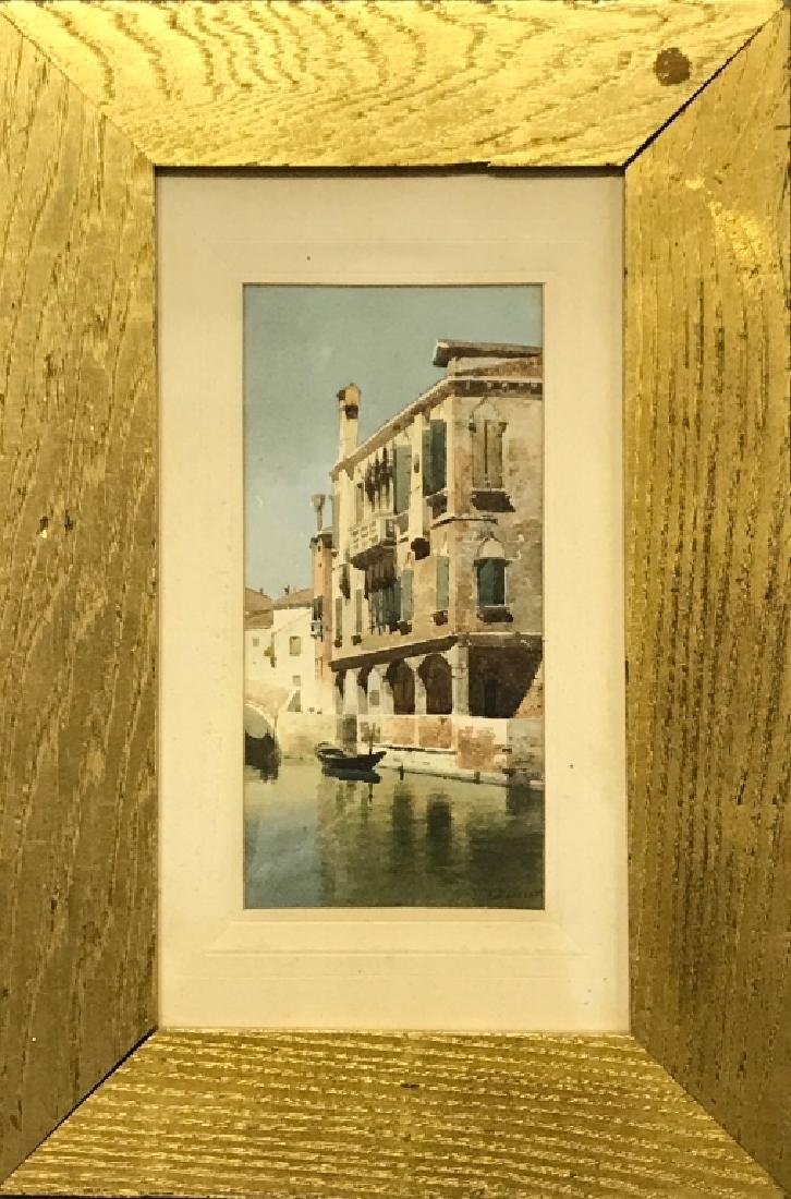 """Eugenio Benvenuti Watercolor """"Venice Canal Scene"""""""