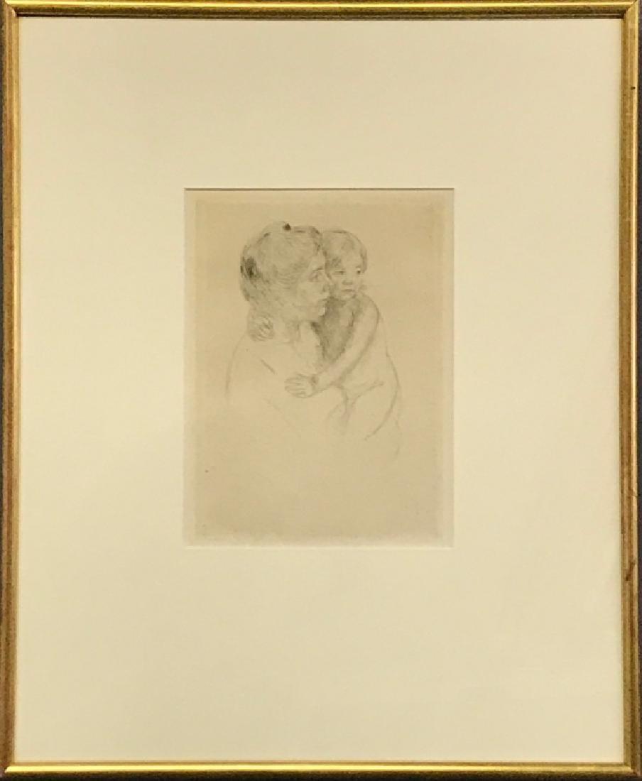 """Mary Cassatt Etching """"Antoine Holding Her Child"""""""