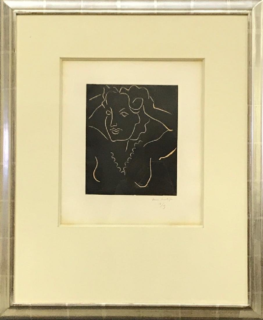 "Henri Matisse Signed Linocut ""Diane"""
