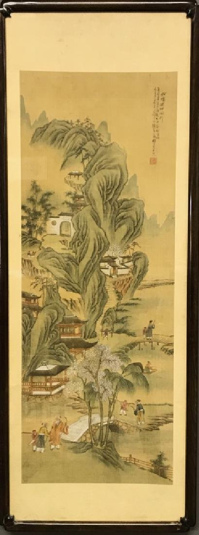 Chinese Qing Dynasty Painted Silk Hanging Scroll