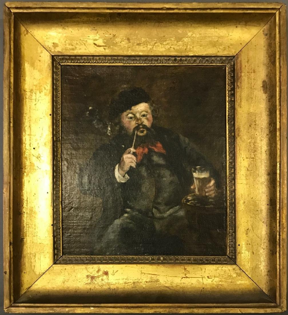 Framed Oil on Canvas of a Man Smoking a Pipe