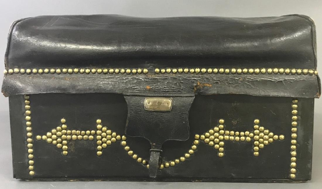 Black Leather Trunk with Brass Studs