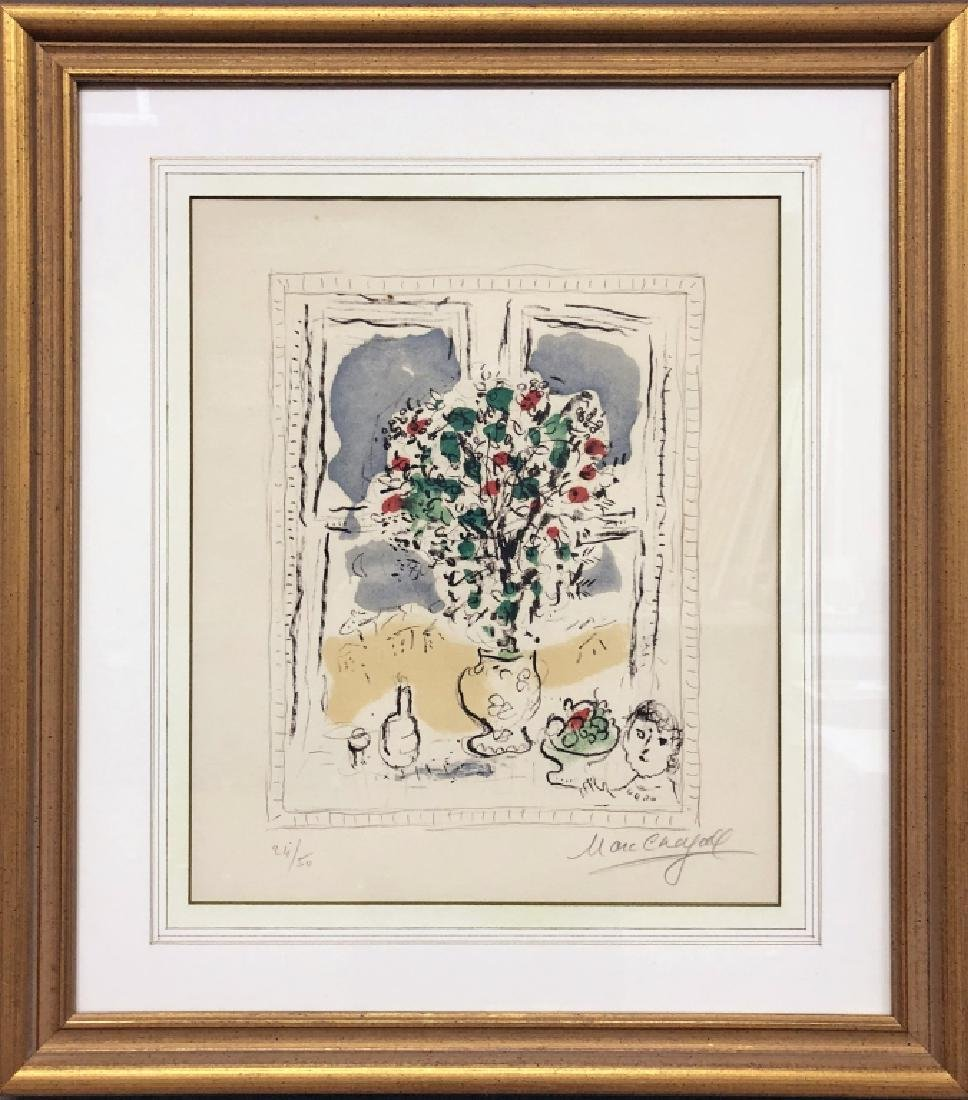 "Marc Chagall Signed Lithograph ""Bouquet"""