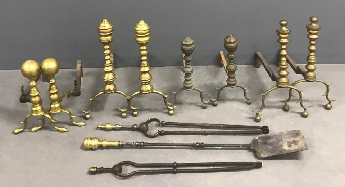 Three Pairs of Federal Brass Andirons