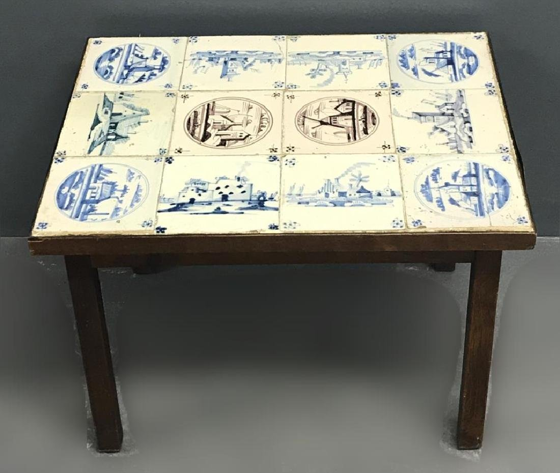 Dutch Delft Tile End Table