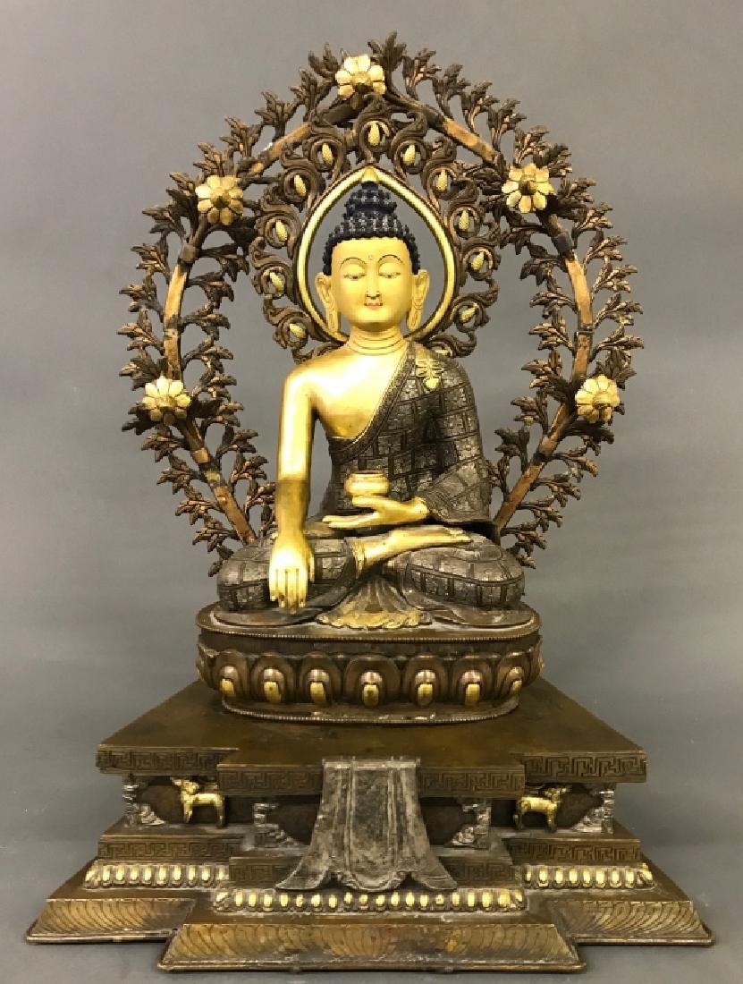 Tibetan Gilt & Silvered Bronze Seated Buddha