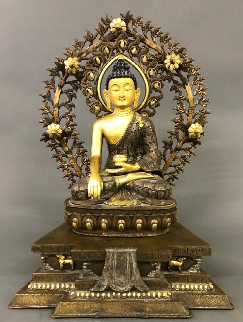 Tibetan Gilt & Silvered Bronze Seated Buddha