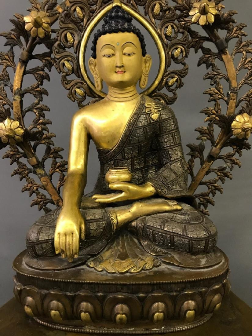 Tibetan Gilt & Silvered Bronze Seated Buddha - 2