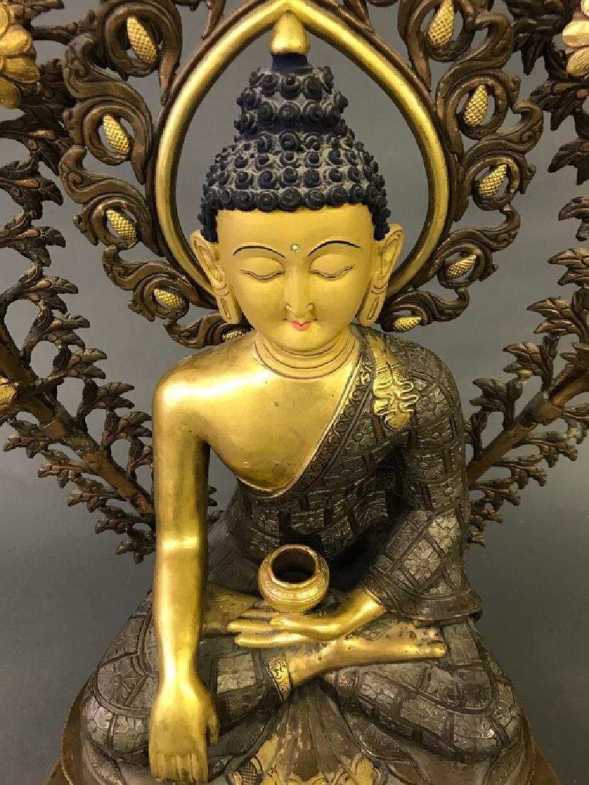 Tibetan Gilt & Silvered Bronze Seated Buddha - 4