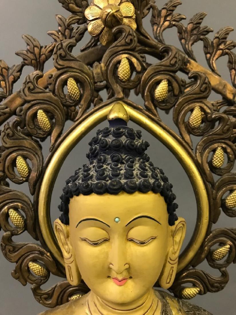 Tibetan Gilt & Silvered Bronze Seated Buddha - 5