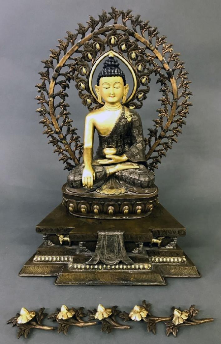 Tibetan Gilt & Silvered Bronze Seated Buddha - 6