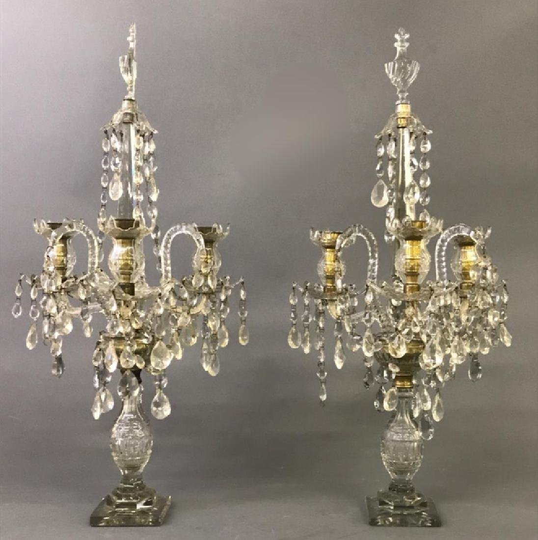 Pair of Crystal Candelabra